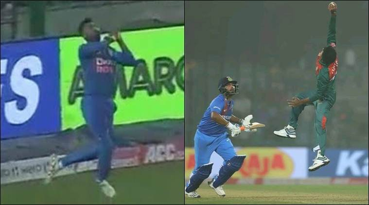 India vs Bangladesh: A tale of two catches — Krunal drops a dolly and Afif's acrobatics   Sports News, The Indian Express