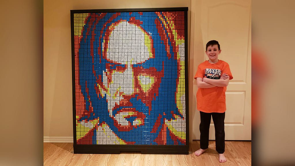 9-Year-Old Creates Portraits Of Celebrities With Rubik's Cubes