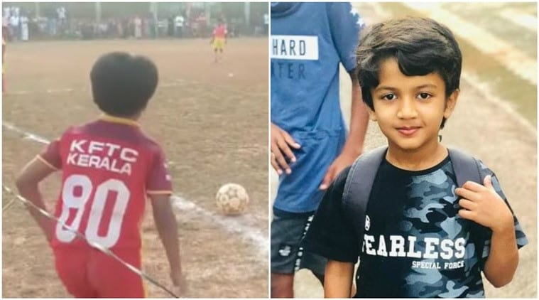 VIEW: 10-year-old Kerala kid's 'zero-degree' corner kick goal goes viral|Sports Information, The Indian Express