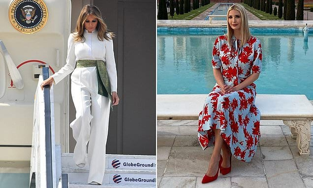 Melania and Ivanka Trump look typically stylish as they arrive for a two-day visit to India | Daily Mail Online