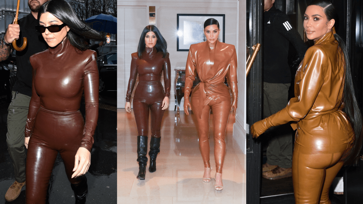 Kim and Kourtney Kardashian's Paris Fashion Week Latex Style