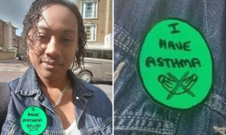 Baby on board-style badges for asthma sufferers who can't wear masks