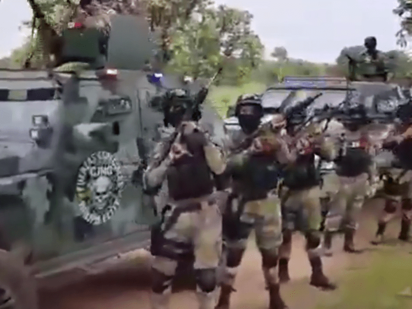 Powerful Mexican drug cartel shows off troops with military-style weapons and armoured vehicles