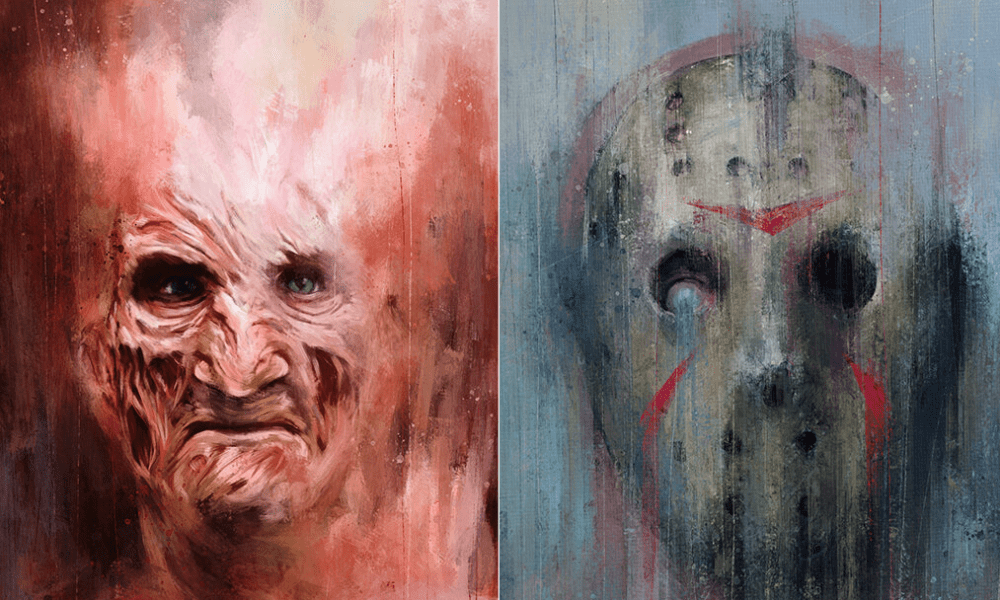 Matthew Therrien Illustrated Every Various Version of Freddy and Jason as Expressionist-Style Paintings