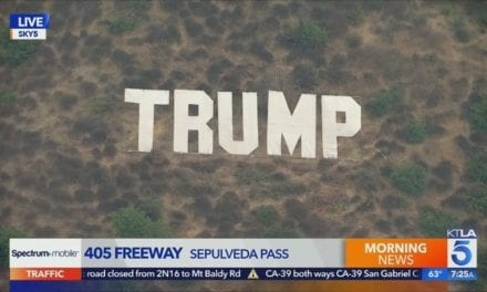Massive Hollywood-Style Trump Sign Placed on the 405 in Los Angeles