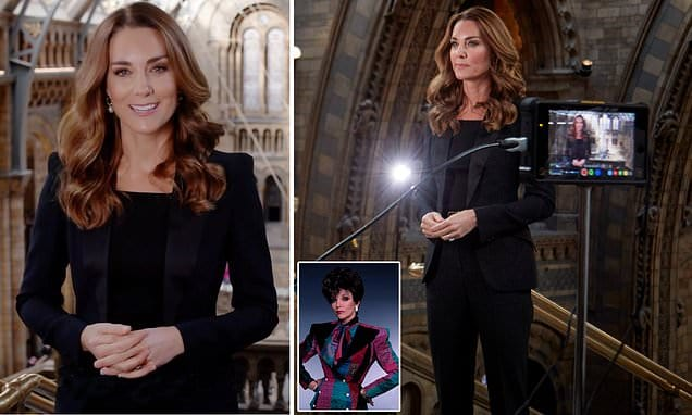 Kate Middleton does Dynasty: Duchess of Cambridge launches photo contes in '80s-style shoulder pads   Daily Mail Online