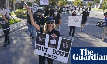 Paris Hilton leads protest calling for closure of Utah school | Life and style | The Guardian