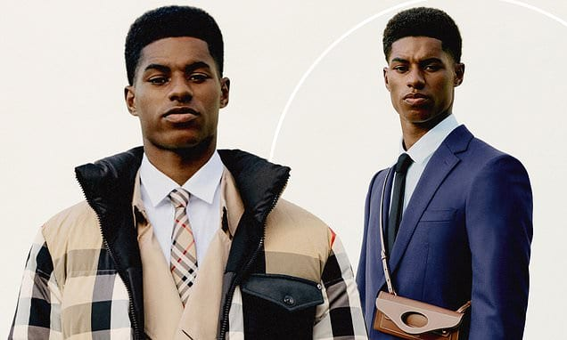 Marcus Rashford oozes style in a Burberry padded jacket and sharp suit | Daily Mail Online