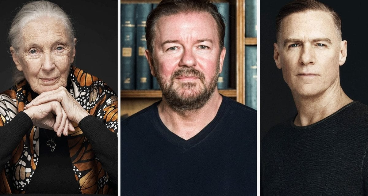 Jane Goodall, Ricky Gervais, Bryan Adams, and 100 Other Celebrities Sign Open Letter Urging Public to Go Vegan in January
