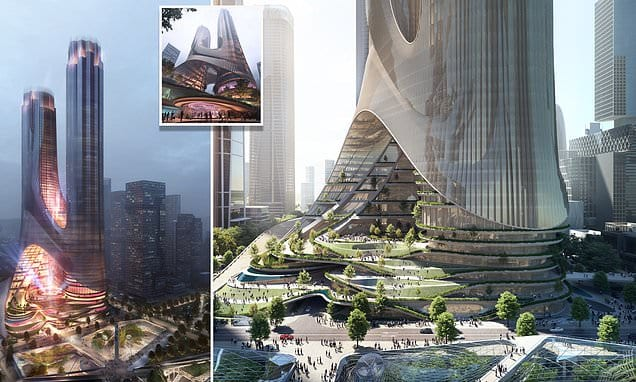 The sci-fi-style twin skyscrapers by Zaha Hadid that will be as tall as the Empire State Building | Daily Mail Online