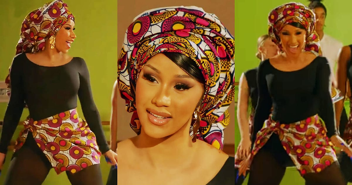 VIDEO: Cardi B Gets Africanized In Prints Whilst Learning How To Wine Her Waist In Exciting African Dances – FashionGHANA.com: 100% African Fashion