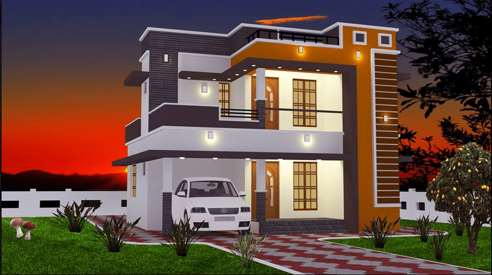 965 Sq Ft 2BHK Contemporary Style Double Floor House and Free Plan – Home Pictures
