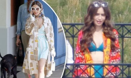 Emily In Paris star Lily Collins changes from a bikini into a high-style ensemble | Daily Mail Online
