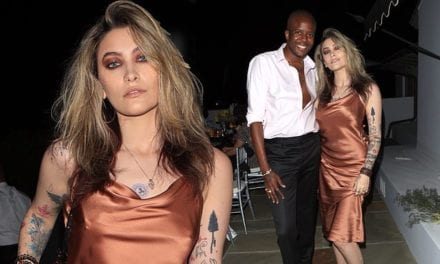 Paris Jackson shows off her sense of style in gold silk midi dress | Daily Mail Online