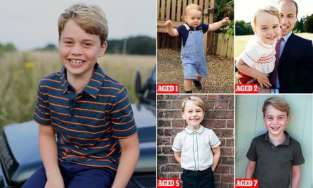 Prince George sports £10 John Lewis shirt as he poses on a Landrover Defender in tribute to Philip | Daily Mail Online
