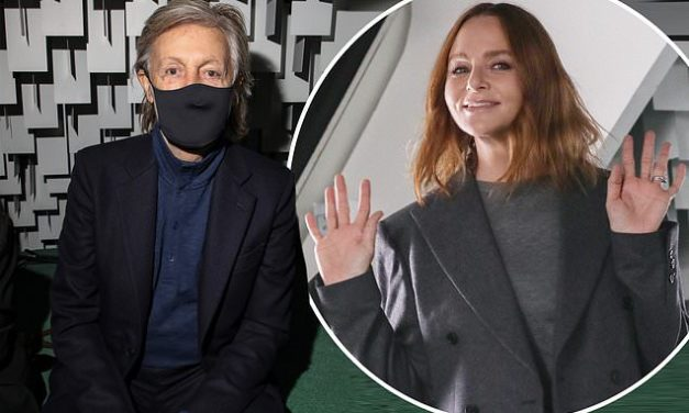 Paul McCartney sits front row at his designer daughter Stella's fashion show in Paris | Daily Mail Online