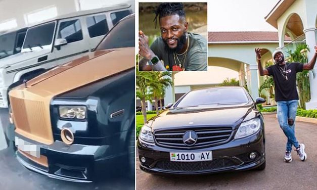 Emmanuel Adebayor's team proudly show off his expensive car collection in his garage as 'motivation' | Daily Mail Online